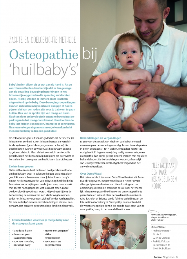 Osteopathie bij huilbaby's | OsteoVitaal in For You Magazine